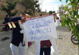 Cumplen sindicalizados de Salud 15 días de protestas en Oaxaca