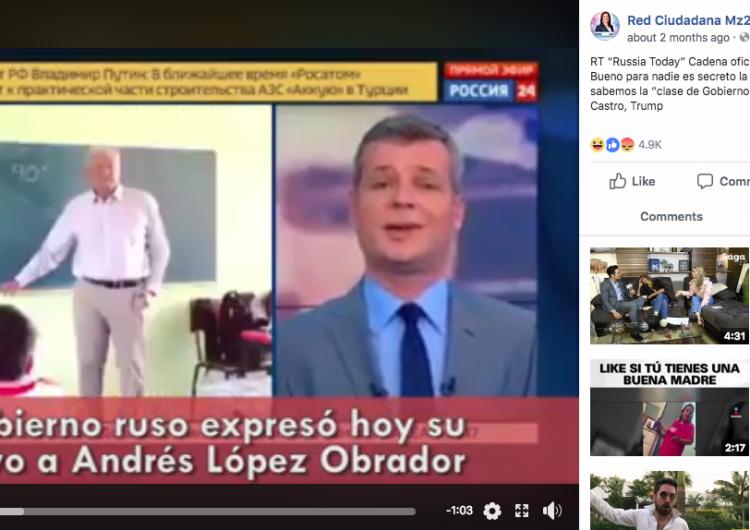 Falso: Un noticiero ruso anuncia que el gobierno de Putin decidió apoyar a López Obrador