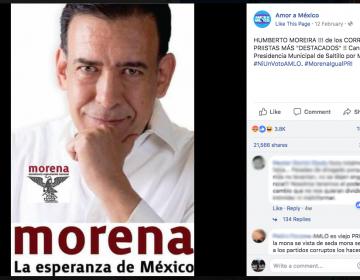 Un montaje, la fotografía de Humberto Moreira como candidato de Morena