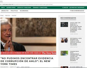 Falso, que el NYT deslindó de corrupción a algún político mexicano