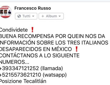 Ofrecen recompensa de 2 MDP por italianos desaparecidos en Tecalitlán