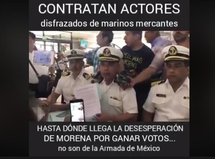 La Marina Mercante no dio conferencia a favor de López Obrador, pero tampoco fueron actores pagados por Morena