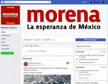 Una página de Facebook se hace pasar una y otra vez como oficial de Morena Veracruz