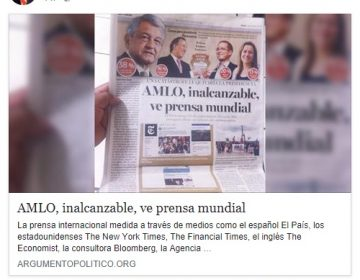Falso, que NYT o The Economist den por hecho el triunfo de López Obrador
