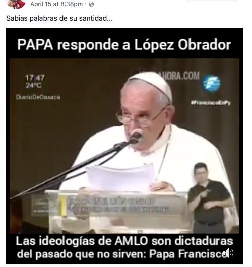El papa Francisco no se pronunció en contra de Andrés Manuel López Obrador