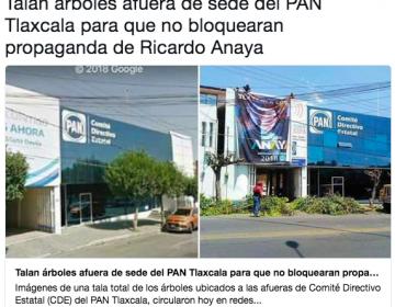 Sí podaron árboles frente al PAN de Tlaxcala, pero no fue ese partido sino el municipio priista