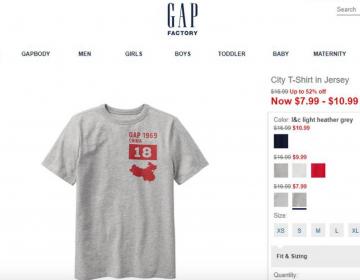 Gap se disculpa por diseño de camiseta con mapa de China sin Taiwán