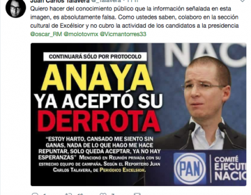 Tres notas falsas sobre el Frente: el PRD dejó la coalición, Anaya acepta que no ganará o que llama envidiosos a sus críticos