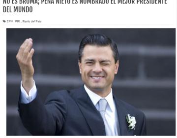 Peña Nieto no recibió de la ONU el título al mejor presidente del mundo