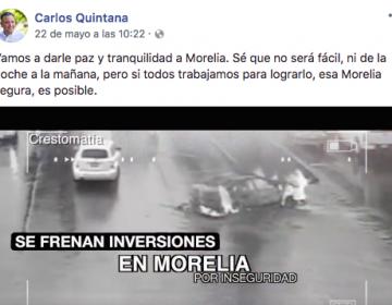 Candidato de Morelia utiliza imágenes de 2011 y las hace pasar por recientes