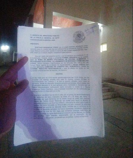 Presenta Gustavo Granados denuncia por robo en casa de campaña