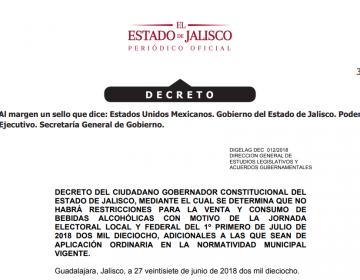 Gobierno de Jalisco deja a ayuntamientos decisión para aplicar ley seca el 1 de julio