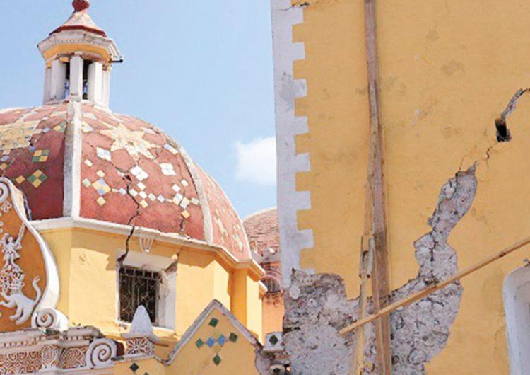 A nueve meses del sismo 19-s, templos de San Pedro Cholula siguen sin operar