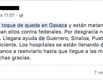 Una imagen y un mensaje del operativo de 2016 en Nochixtlán, Oaxaca, se difunde como si fuera un enfrentamiento actual