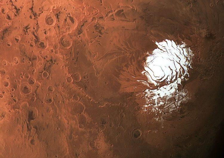 Descubren un lago de agua líquida bajo el hielo de Marte