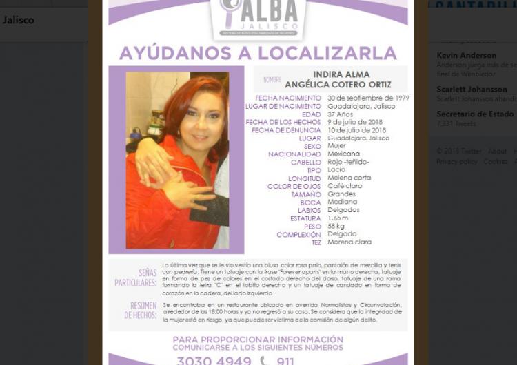 Emiten alerta alba por desaparición de hija de funcionario de Jalisco