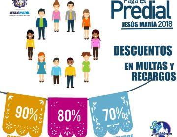 Habrá descuentos en multas y recargos del predial en Jesús María