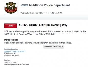 Reporta policía tiroteo en Wisconsin, EEUU; reportan 5 heridos incluyendo al atacante