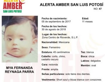 #AlertaAmberSLP Desaparece bebé de 11 meses junto a una mujer