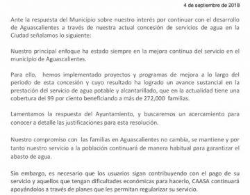 Responde CAASA al ayuntamiento de Aguascalientes