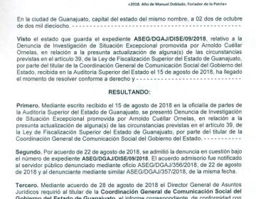 ASEG investiga a la Coordinación General de Comunicación Social del Gobierno de Guanajuato por irregularidades en el destino de recursos públicos