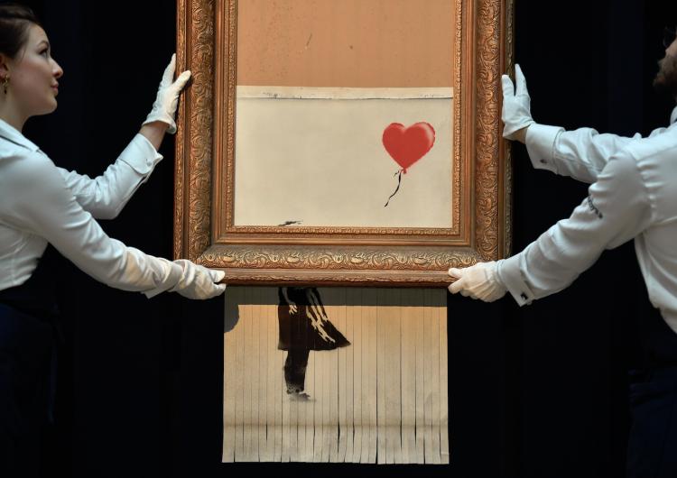La autodestrucción de la obra de Bansky: el acto que no salió como el autor quería