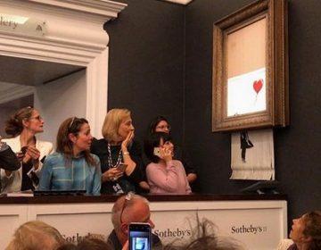 Una obra de Banksy se autodestruye tras ser subastada por un millón de libras