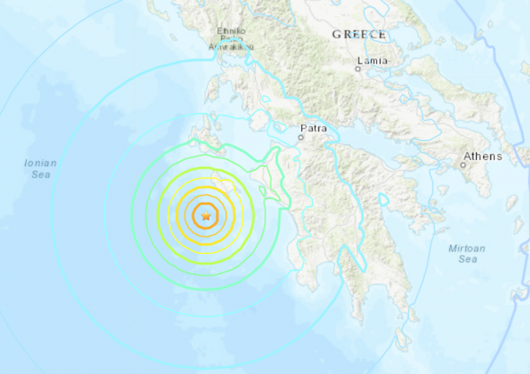 Sismo de magnitud 6.8 sacude la costa oeste de Grecia