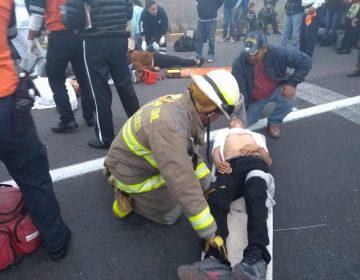 Volcadura de autobús deja 20 lesionados en Tlajomulco