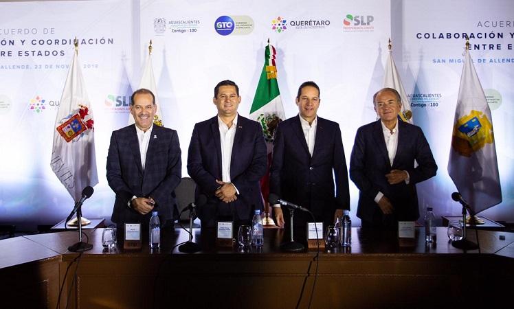 Firman acuerdo gobernadores de la región bajío para detonar el desarrollo económico