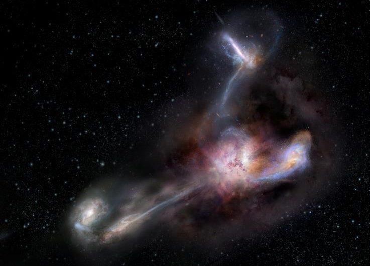 """Descubren que la galaxia más luminosa del universo se """"alimenta"""" de cuerpos celestes más pequeños"""