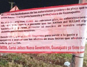 CJNG deja 30 narcomantas en nueve municipios de Guanajuato