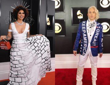 Cantantes desfilan en los Grammy con atuendos que apoyan a Trump y su muro