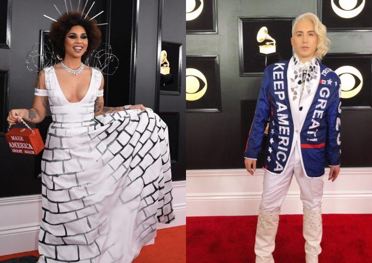 Los cantantes Joy Villa y Ricky Rebel mostraron su apoyo a Donald Trump en la 61 entrega de los premios Grammy. Foto: Especial