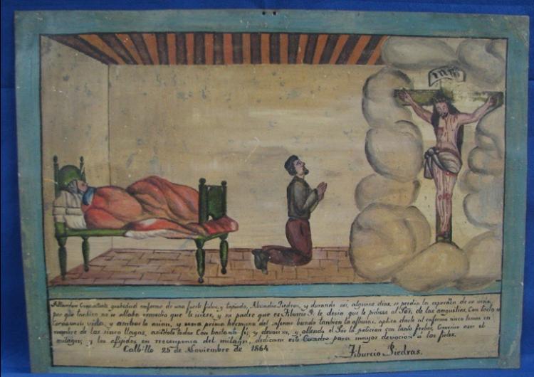 Los exvotos son dádivas artesanales ofrecidas a los santos y vírgenes con la representación gráfica de favores recibidos. Foto: INAH
