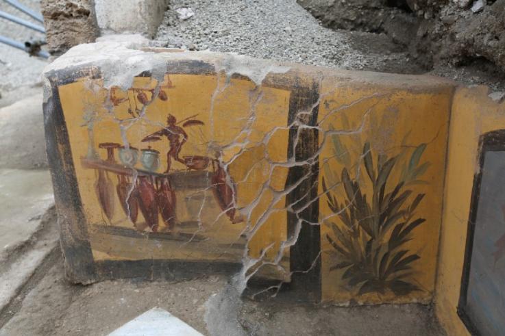 Descubren un negocio de bocadillos preservado en las ruinas de Pompeya