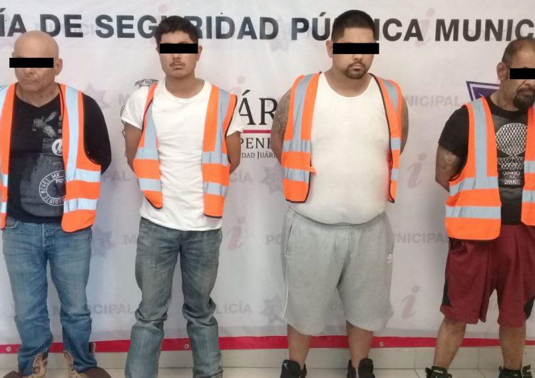 Aseguran a cuatro sujetos por posesión de arma de fuego