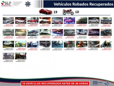 Localizan 33 vehículos robados durante operativo en SLP