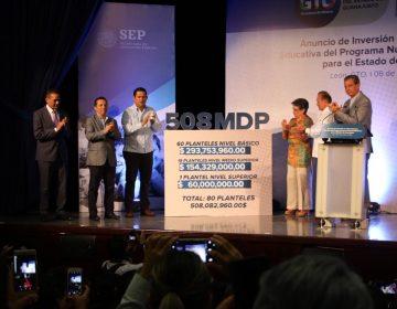 Anuncian inversión federal de 508 millones para escuelas de Guanajuato