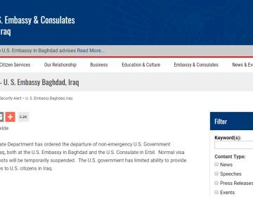 EU ordena la salida de parte de su personal diplomático de Irak