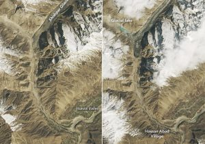 """Imágenes de la NASA muestran un nuevo lago creado por un glaciar """"de oleada"""""""