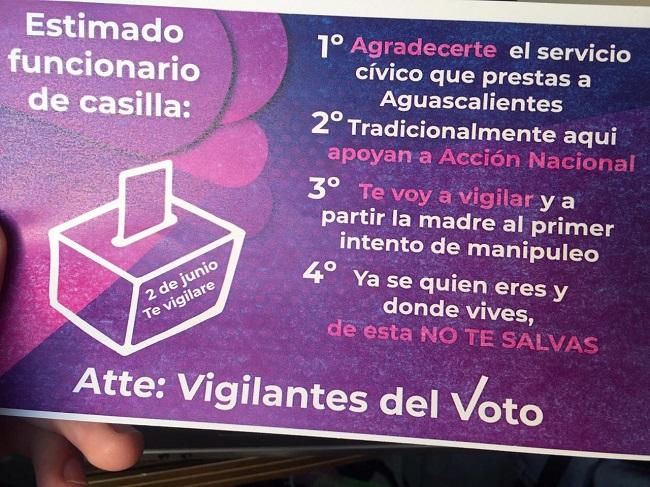Denuncia INE amenazas a funcionarios de casilla en Aguascalientes