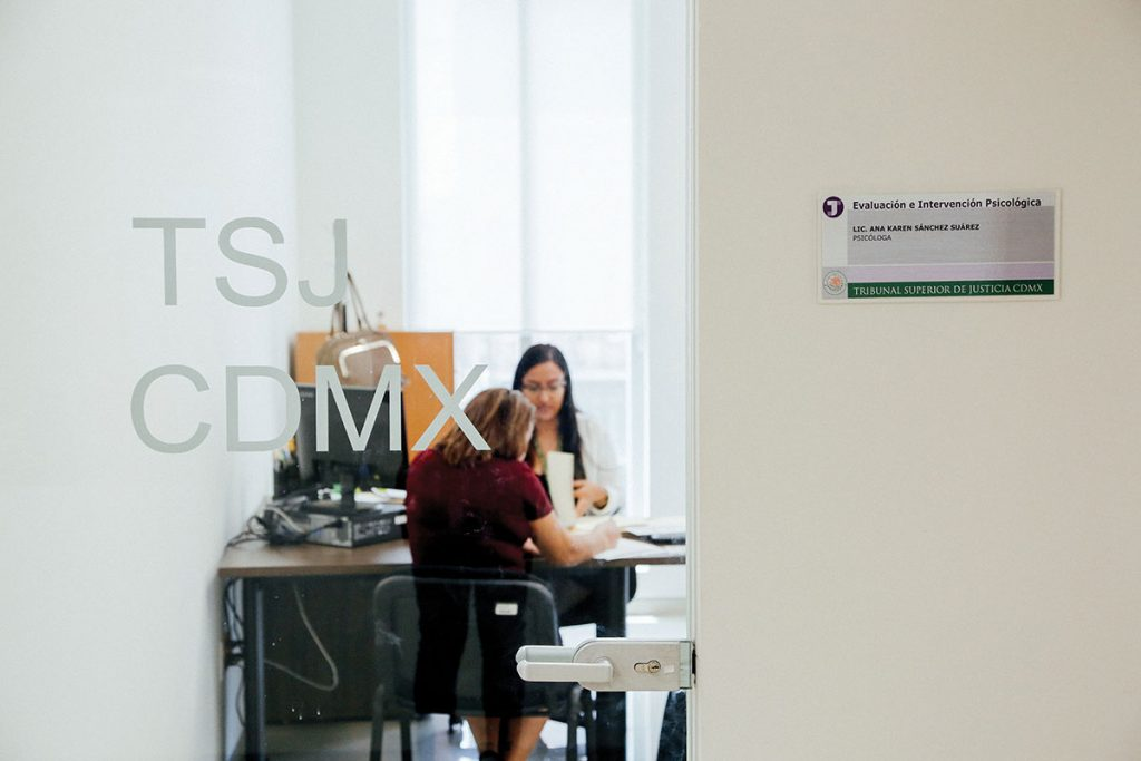 a través de una puerta de cristal se observa, a la distancia, a dos psicólogas trabajando en un escritorio.