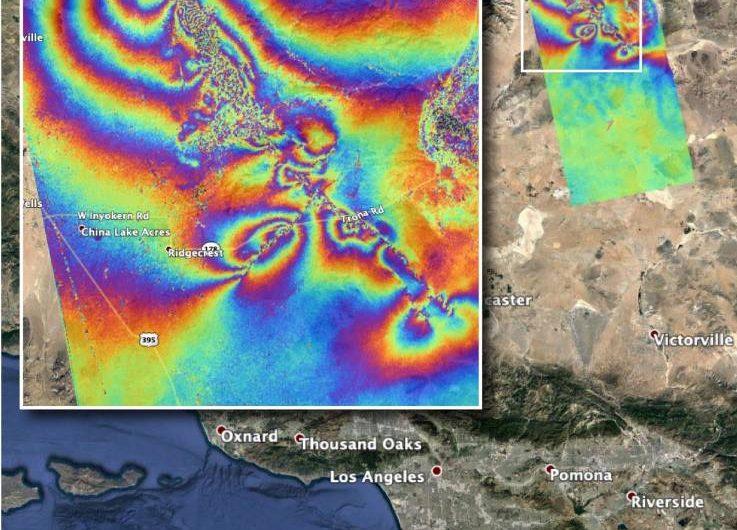 """La NASA revela las """"cicatrices"""" que dejaron los sismos de California y que se ven desde el espacio"""