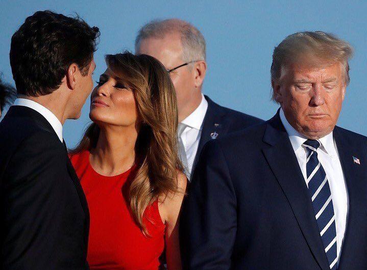 #MelaniaLovesTrudeau se vuelve tendencia por los memes creados con la foto de Trump, la primera dama y el primer ministro canadiense