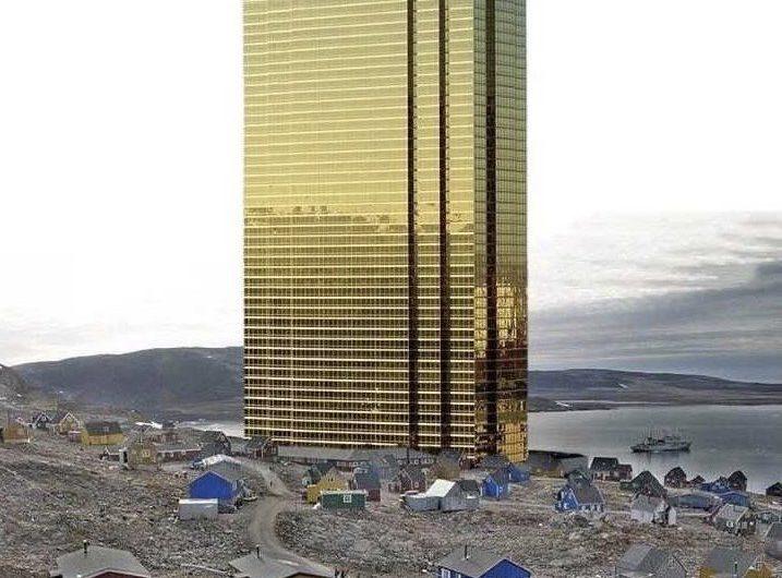 """Trump comparte imagen editada de una enorme """"Torre Trump"""" en Groenlandia"""