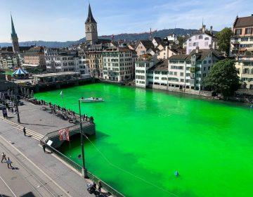 Tiñen de verde fosforescente un río en Suiza para alertar sobre la crisis ambiental