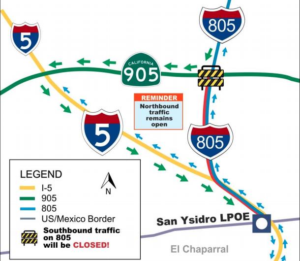GSA anuncia cierres nocturnos alternos de la autopistas  en dirección a San Ysidro