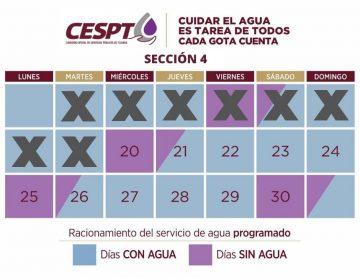 La sección 4 no tendrá agua este miércoles 20