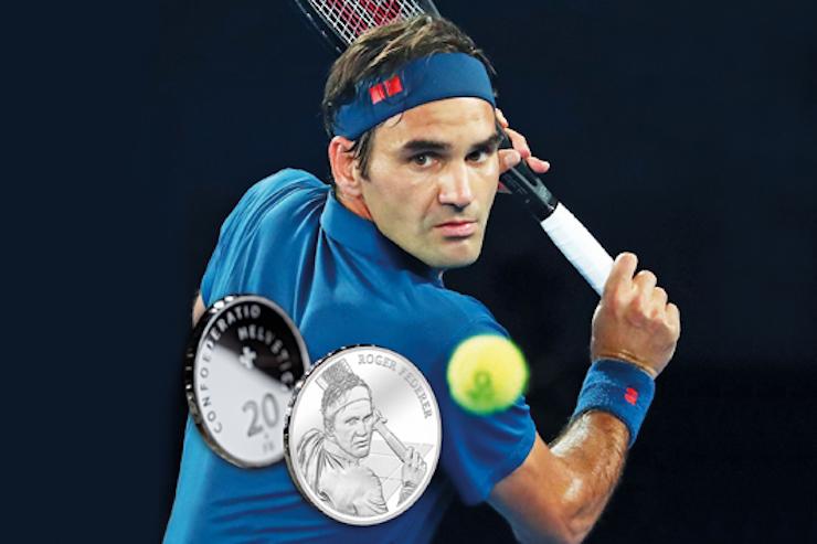 Federer se convierte en la primera persona viva que aparece en monedas suizas
